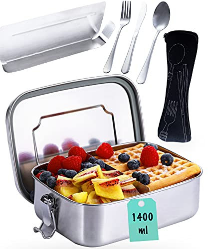 Porta Pranzo in Metallo con Scomparti e Posate - Ermetico - Lavabile in Lavastoviglie - Lunch Box in Acciaio Inox di 1,4 L