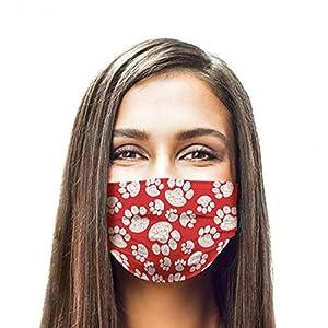 GGSEU Stoffmasken Mundschutz Maske Stoff Mund Nasen Schutzmaske Mund und Nasenschutz Maske waschbar groß (weisse pfoten)