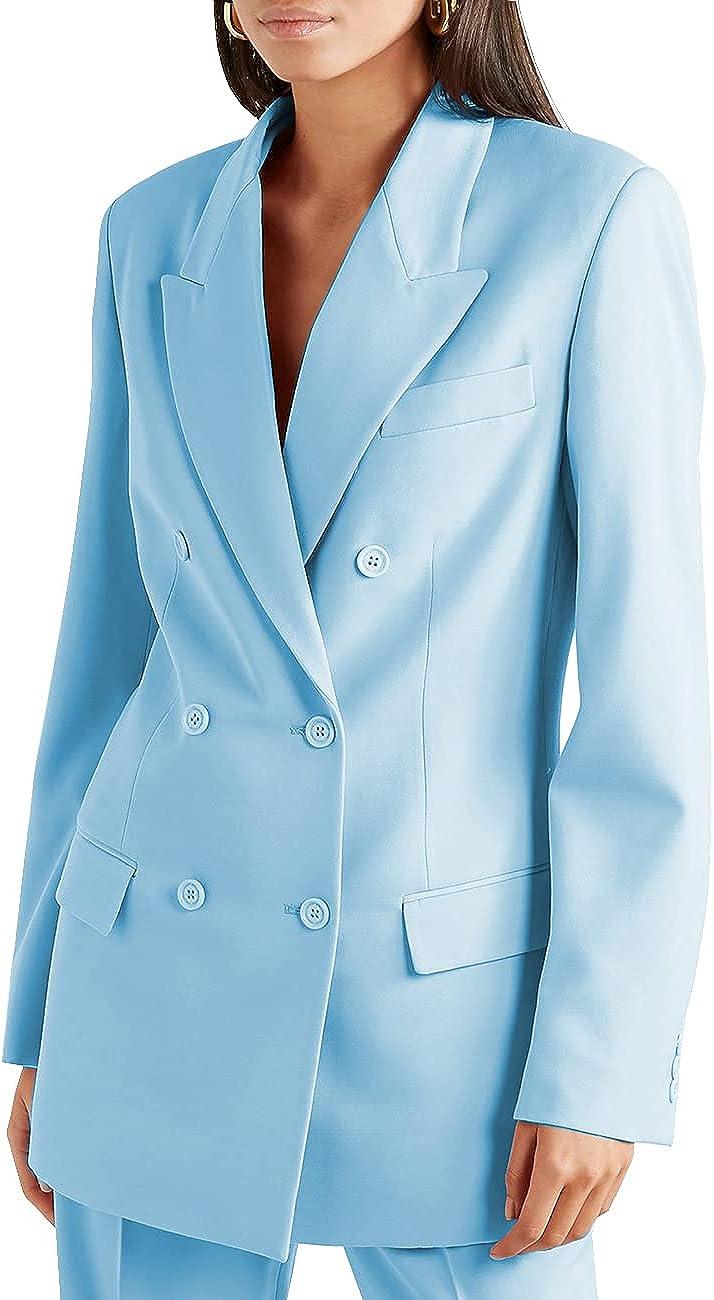 ANSHUHAWomen's Suits Blazer Regular Fit 2 Piece Solid Formal Business Jacket+Pants Work Set Office Suit(Blazer+Pant)