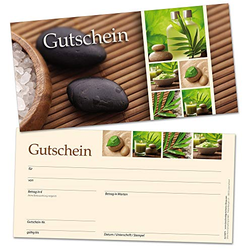 Geschenkgutscheine für Kunden, Wellness Massage Physio, 50 hochwertige Karten DIN lang, blanko, selbst beschriften mit Euro-Betrag, Name & Firmen-Stempel, beliebte Geschenk-Idee auch zu Weihnachten