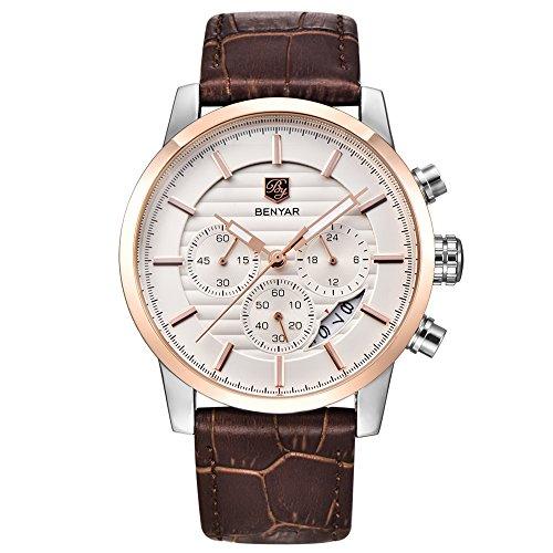BENYAR - Reloj analógico de cuarzo para hombre, resistente al agua, con correa de piel de calidad, con cronógrafo