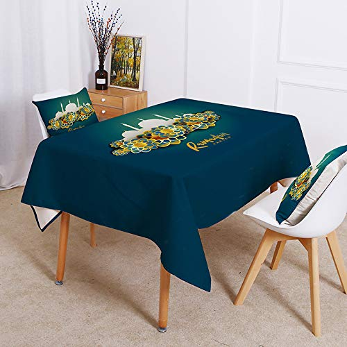 sans_marque Mantel de algodón lavable, diseño de borlas, rectangular, ideal para cocina, comedor, mesa, decoración de buffet, 140 x 200 cm