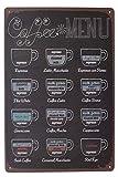 UOOPAI Coffee Menu Latte Espresso Retro Vintage Metal Tin Sign Art Poster Plaque Wall Decor