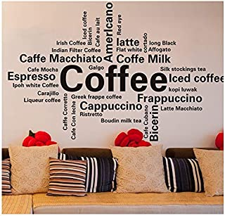 Wall Stickers - Creative Wall Sticker Living Room Office Letter Character Stickers H041 (Dark Coffee Small)