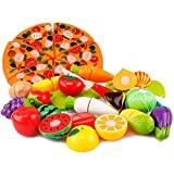 Vangoal 26pcs Küchenspielzeug Kinder Plastikfrucht-Gemüse-Obst Pizza Schneiden Spielzeug Küche Cutting Toy Pädagogisch Rollenspiele Spielzeug