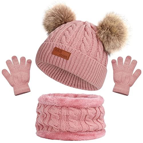 Kinder Wintermütze Schal Handschuhe Mädchen Set Strickmütze Babymütze Kinder Mütze Set Baby Mütze Warme Winter Beanie Hut Jungen Handschuhe runder Schal Set für Kinder 3-8 Jahre (Dunkelpink)