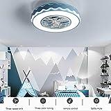 Ventilatore da Soffitto con Lampada, Moderno Camera da Letto per Bambini Lampada Ventilatore Invisibile Creativo con Telecomando Ventilatore a Soffitto a LED Ultra-silenzioso Dimmerabile Soggiorno,Blu
