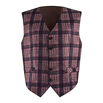 Very Last Shop Dr Who 4th Doctor Men Vest Waistcoat Halloween Cosplay Costume  Men-L Red Plaid