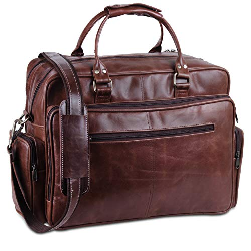 Handmade World Business Travel Briefcase Genuine Leather Messenger Air Cabin Carry on Luggage Duffel Bags for Men Laptop Bag fits 17 inches Laptop