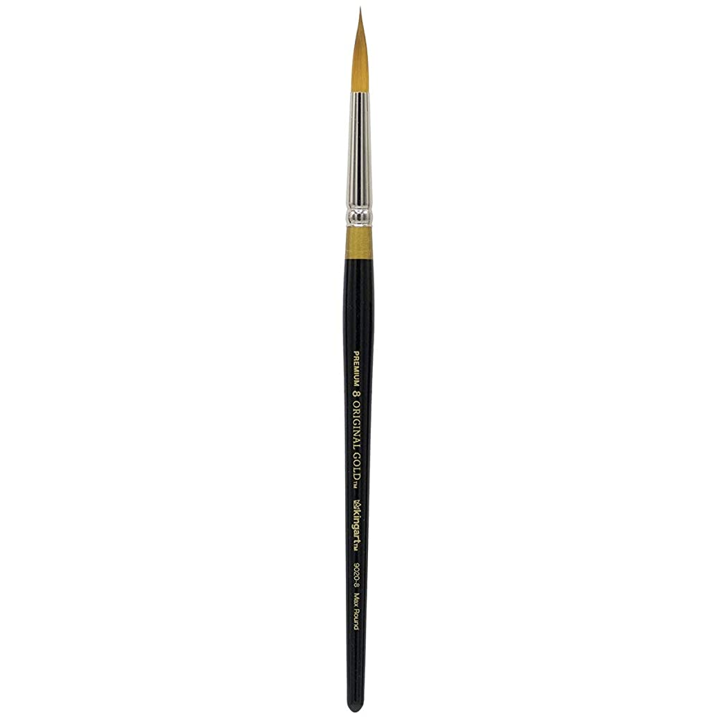 KINGART Original Gold 9020-0, Premium Artist Brush, Golden TAKLON MAX Round-Size: 0, Black
