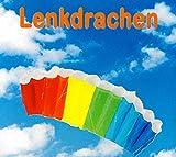 SUPwave Lenkdrache 55 x 120 cm, Kite, Lenkmatte, Mattendrache, Drache inkl. Lenkschnüre 2 x 50m (Rainbow)