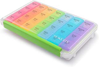 Weekly Pill Organizer 7 Day (4 Times a Day), Sukuos Moisture-Resistant Large Daily Pill Cases for Pills/Vitamin/Fish Oil/Supplements - Rainbow Colors (Morn NOON EVE Bed)