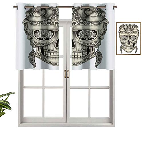 Hiiiman Short Straight Drape Valance Spanish Sugar Skull with Roses Dragonfly Eyes Feather and Earrings Artwork, Set of 1, 36'x18' for Windows Kitchen