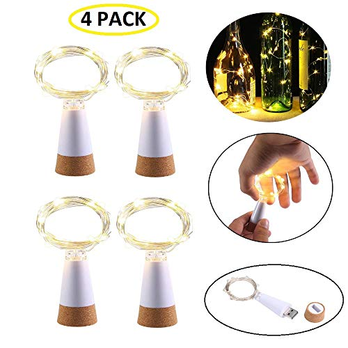 KOBWA Weinflaschen-Kork-Lichterkette, USB betrieben, wiederaufladbar, Kupfer-Lichterkette – 150 cm 15 LEDs für Flasche, DIY, Hochzeit, Halloween, Weihnachten, Party(4 Stück)
