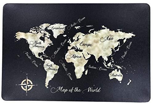 Schreibtischunterlage Map of the World schwarz Landkarte Kontinente Weltkarte Erde Erdteile 40 x 60 cm abwischbar