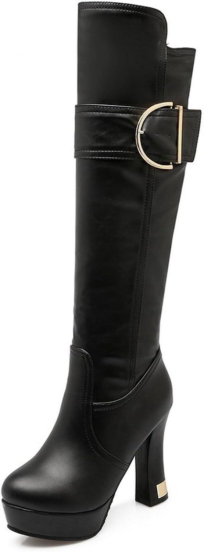 AdeeSu Womens Casual Platform Buckle Urethane Boots SXC02104