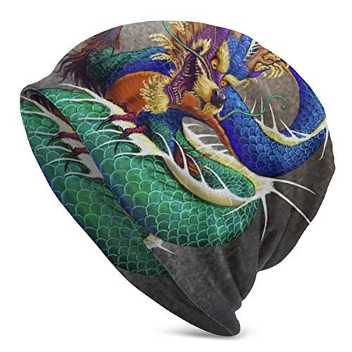 Chinese Dragon Noble Monster Chinoiserie Slouchy Beanie Hats for Women Men Bonnet Cap Warm Casual Skull Knit Hat Caps Black