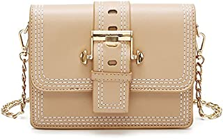 Leather New Women's Shoulder Wallet Chain Small Square Wallet PU Leather Women's Shoulder Wallet Messenger Wallet Waterproof (Color : Beige, Size : S)