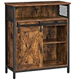 VASAGLE COBADO Storage Cabinet, Sideboard Cupboard with Open Compartment, Sliding Barn Door, Adjustable Shelf, Industrial, for Entryway, Living Room, Kitchen, Study, Rustic Brown and Black ULSC089B01