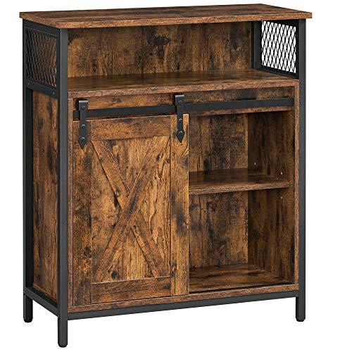 VASAGLE COBADO Storage Cabinet, Sideboard Cupboard with Open Compartment, Sliding Barn Door, Adjustable Shelf, Industrial, for Entryway, Living Room, Kitchen, Study, Rustic Brown and Black ULSC089B01