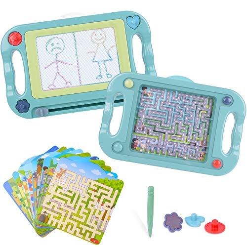 Pizarra Magnética para Niños Tablero de Dibujo Magnético Infantil Tableta Magnética Doble Cara con Laberinto Equilibrar Pelota, Juguete para Niños Navidad Regalo Cumpleaños Día de Los Reyes para Niños