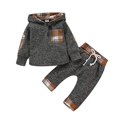 T TALENTBABY Kleinkind Kleinkind Jungen Langarm Hoodie Sweatshirt + Hosen Spleißen Plaid Hoodie Tasche 2 Stücke Outfits Kleidung Sets, Grau Khaki, 3-6 Monate