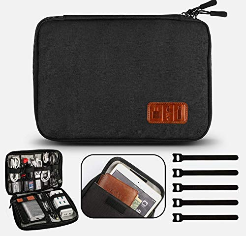Gibot Cable Organiser Bag, Travel Electronics Accessories Bag Organiser for Cables, Flash disk, USB drive, Charger, Power Bank, Memory Card, Headphone and iPad Mini, Double Layer, Black