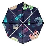 Paraguas pequeño de Viaje a Prueba de Viento al Aire Libre Lluvia Sol UV Auto Compacto 3 Pliegues Cubierta de Paraguas - patrón sin Costuras Botellas de Calavera de Cristal