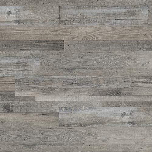 M S International AMZ-LVT-0099 7 inch x 48 inch Luxury Vinyl Planks LVT Tile Click Floating Floor Waterproof Rigid Core Wood Grain Finish McKenna, CASE, Grayton Gray, 23 Square Feet