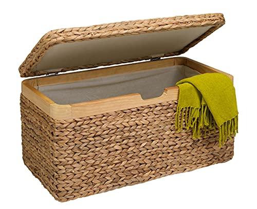 artra design GmbH Truhe mit Klappdeckel Wasserhyazinthe hell klein, mit Zierrahmen aus Massivholz BSCI