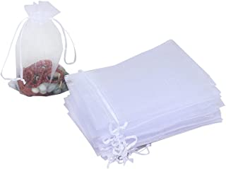 HRX Package 100pcs White Organza Bags, 4 x 6 inches Christmas Wedding Favors Gift Drawstring Bags Jewelry Pouches Candy Mesh Pouches