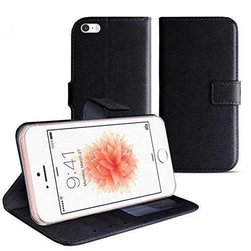 eFabrik Tasche für Apple iPhone SE, iPhone 5 & iPhone 5S Schutzhülle schwarz Hülle Handy Tasche Schutztasche Bookstyle Hülle Smartphone-Zubehör, Farbe:Schwarz