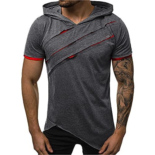 N\P Hombres Patchwork Poliéster Manga Corta Verano Camisetas Casual Ejército Camisetas