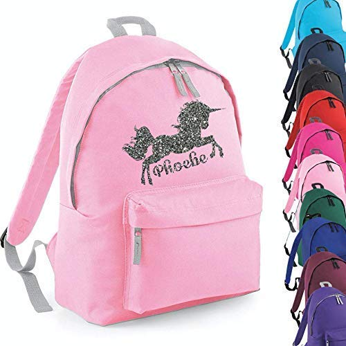 Personalised Kids Backpack Any Name Pink Girl Childrens Back To School Bag