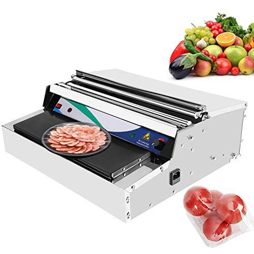 Hanchen Envasadora de Film de Alimentos Frescos Industrial Sellador de Alimentos Eléctrico Máquina de Sellado y Corte de Film Acero Inoxidable para Carne/Verduras/Frutas