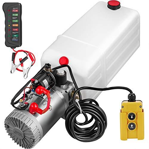 Frantools Hydraulik Pumpe Electric Hydraulic Pump 7 Quart 12V Hydraulikpumpe Hydraulikpumpe Anhänger 2000W mit Zubehör Bildschirm