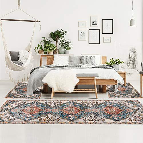 Bettumrandung Schlafzimmer - 3-teiliges Läufer Set 80x150/80x300 cm - Teppiche Vintage Ornamente Blau Rot Beige