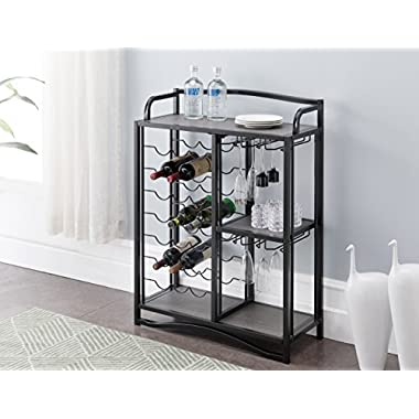 Grey Finish Shelves / Black Metal Finish 21 Bottle Holder Wine Organizer Rack Cabinet with 3-tier Shelf Kitchen and Wine Glass Holder