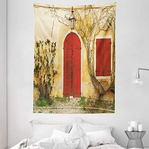 Tapiz de Pared Tapestry Persianas tapiz de puerta con puerta y ventana cegadas a la casa rural toscana Italia para colgar en la pared Tapestries 80 * 60inch
