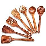 Juego de utensilios de cocina de madera, 7 cucharas de madera de teca natural y espátula para utensilios de cocina elegantes, vendidos y antiadherentes para uso doméstico y decoración de cocina.