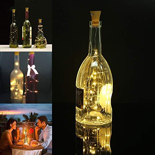 L.J.JZDY Luces Frasco de conservas 10pcs Calentar la Botella del Vino Blanco Solar 20LED Luces de Cadena Durable práctica Cork clásico Multi-Funcional Garland