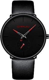 Reloj de pulsera para hombre, ultradelgado, minimalista, resistente al agua, moderno, unisex, con correa de piel