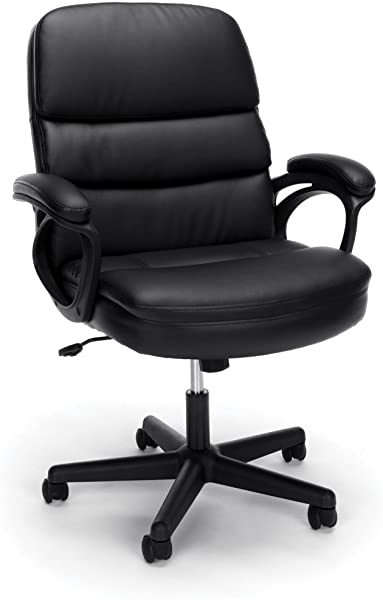 Essentials By OFM Leather Executive Chair Ergonomic Managers Computer Office Chair Black