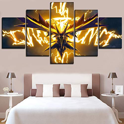 Five Paintings of Anime Canvas, Home Decoration Painting, 5 Pieces of Animated Pokemon Poster, Dragon Spirit Picture, Living Room Wall Art-8 X 14/18/22Inch,with Frame