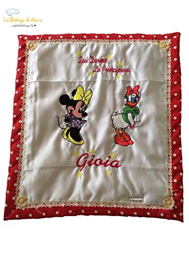 Couverture bébé personnalisée avec Minnie et Daisy et Daisy et Broderie du nom – Quand dort la princesse Gioia – Dimensions : 70 x 80 cm