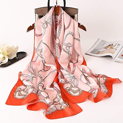 feiren Bufanda de lujo para mujer, con estampado de cadena de caballo, de seda real, para mujer, foulard, pashmina, chales y envolturas, bandana suave (color: 3)