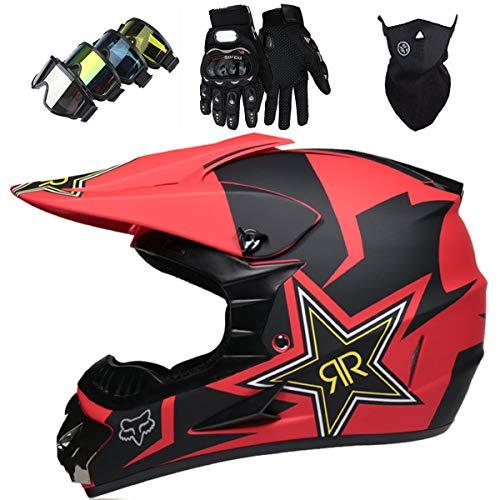 LCRAKON Casco Motocross Niño 5~12 Años ECE Homologado Casco Moto Integral Unisex...