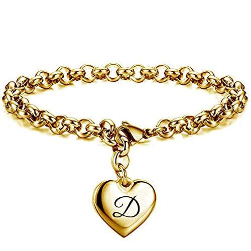 Pulseras Brazalete Joyería Mujer Pulsera Mujer Acero Inoxidable Cadena De Eslabones Corazón Charm Colgante Pulseras -D_20Cm