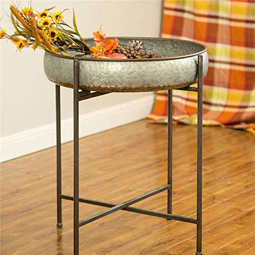 Glitzhome Rustic Metal Tray Side Table Accent Decor Galvanized End Table Shelf with Foldable Legs...