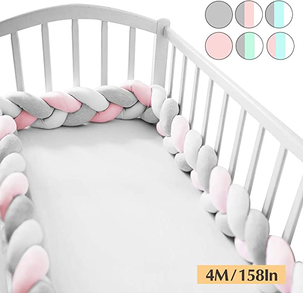 Wonder Space Soft Knot Plush Pillow Baby Crib Bumper Fashion Nursery Cradle Decor For Baby Toddler And Childern Pink Grey White 158IN 4M